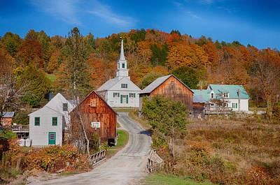 Waits River Church In Autumn Art Print