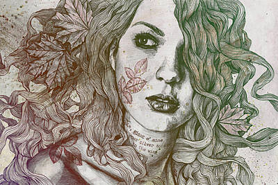 Wake - Autumn - Street Art Woman With Maple Leaves Tattoo Original
