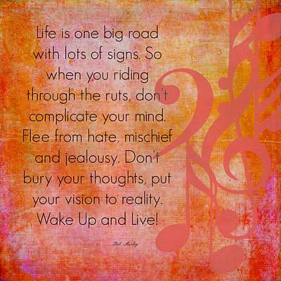 Wake Up And Live Bob Marley Art Print by Brandi Fitzgerald
