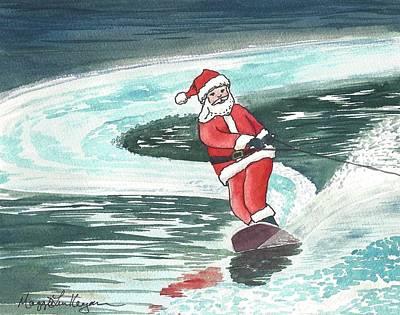 Waterski Painting - Wakeboard Santa by Maggie Kerrigan