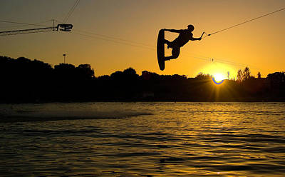 Wakeboarder At Sunset Art Print by Andreas Mohaupt