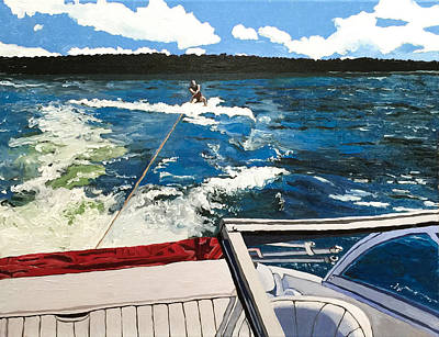 Waterski Painting - Wakeboarding On Raystown Lake by Christina Tarkoff