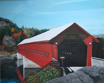 Covered Bridge Painting - Wakefield Bridge by Betty-Anne McDonald