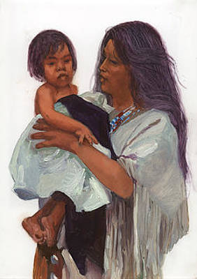 Betty Billups Painting - Wakin Up Sacajawea And Pomp by Betty Jean Billups