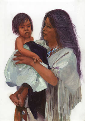 Betty Billups Wall Art - Painting - Wakin Up Sacajawea And Pomp by Betty Jean Billups