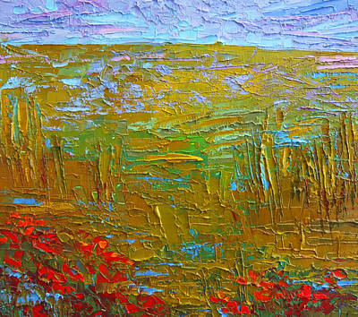 Vivid Colour Painting - Waking Up At Dawn Poppy Field Modern Impressionist Landscape Palette Knife Oil Painting by Patricia Awapara
