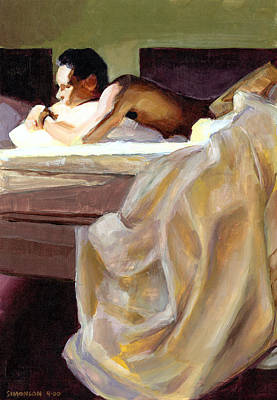 Bed Painting - Waking Up by Douglas Simonson