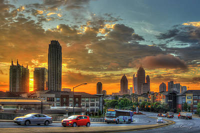 High School Of Art And Design Photograph - Waking Up Midtown Atlanta Towers Over Atlantic Commons Art by Reid Callaway