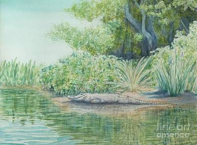 Egret Watercolor Artists Painting - Wakulla Springs Alligator  by DParins Zich