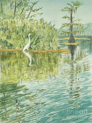 Egret Watercolor Artists Painting - Wakulla Springs Egret by DParins Zich