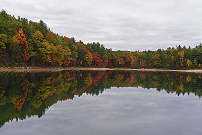 Photograph - Walden Pond Fall Foliage Concord Ma Reflection Trees by Toby McGuire