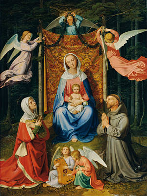 Joseph And The Angel Painting - Waldesruh. Madonna With Child Saint Adelheid And Saint Francis by Joseph von Fuehrich