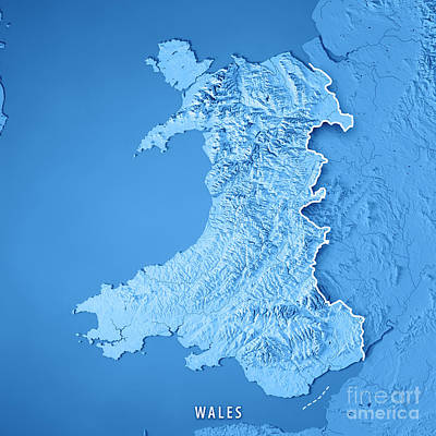 Wales Country 3d Render Topographic Map Blue Border Art Print