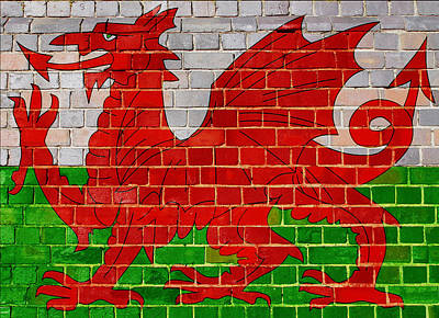 Digital Art - Wales Flag On A Brick Wall by Steve Ball