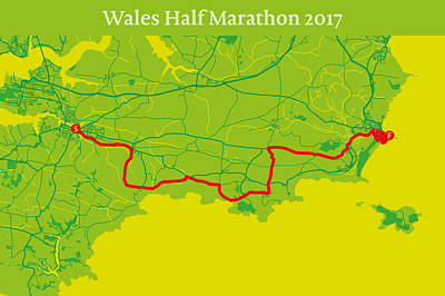 Wales Digital Art - Wales Half Marathon #2 by Big City Artwork
