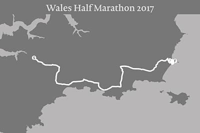 Wales Digital Art - Wales Half Marathon Line by Big City Artwork