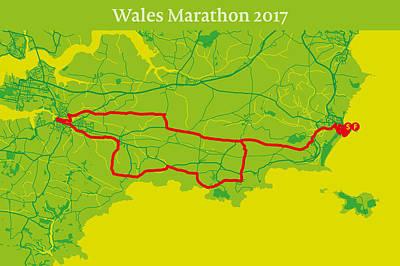 Wales Digital Art - Wales Marathon #2 by Big City Artwork