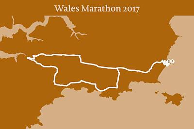 Wales Digital Art - Wales Marathon Line by Big City Artwork