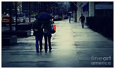 Frank J Casella Royalty-Free and Rights-Managed Images - Walking in the Rain - City of Chicago by Frank J Casella