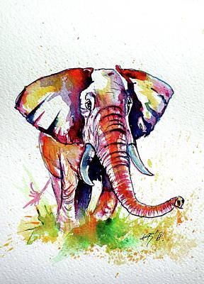 Painting - Walk Alone - African Elephant by Kovacs Anna Brigitta
