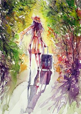 Umbrella Painting - Walk Alone by Kovacs Anna Brigitta