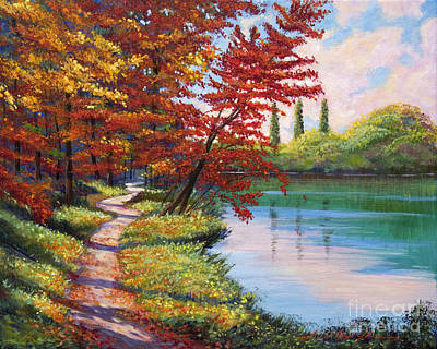 Pathway Painting - Walk Along The Lake by David Lloyd Glover