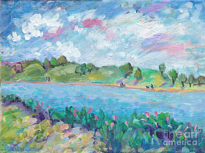 Impressionistic Painting - Walk Around The Lake by Peggy Johnson