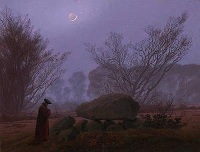 Moonlight Painting - Walk At Dusk, Man Contemplating A Megalith by Caspar David Friedrich