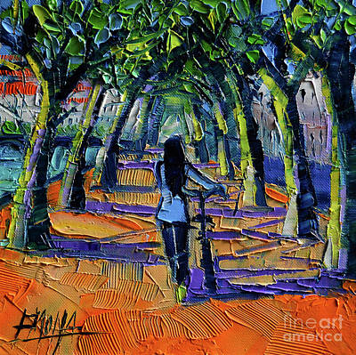 River Walk Painting - Walk Beneath The Plane Trees by Mona Edulesco
