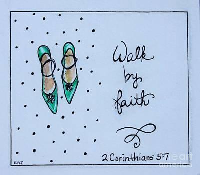 Faith Hope And Love Painting - Walk By Faith by Elizabeth Robinette Tyndall