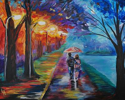 Painting - Walk By The Lake Series 1 by Leslie Allen