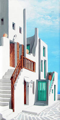 Patio Painting - Walk By The Sea In Mykonos - Original Oil Available And Prints by Mary Grden Fine Art Oil Painter Baywood Gallery