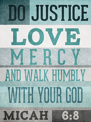 Bible Wall Art - Mixed Media - Walk Humbly- Micah  by Linda Woods
