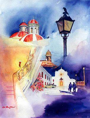Walk In Old San Juan Art Print by Estela Robles