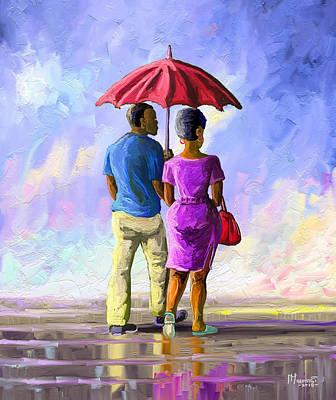 Laugh Painting - Walk In The Rain by Anthony Mwangi