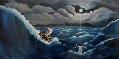 Jesus Walking On Water Painting - Walk In The Storm by Anita Ann Johnson