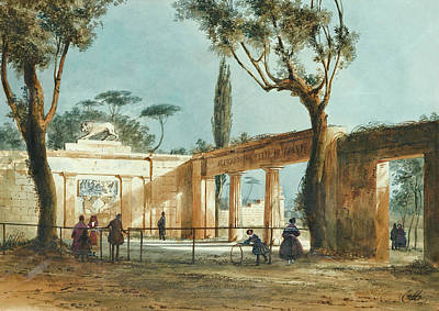 Borghese Painting - Walk In Villa Borghese. Rome by Ippolito Caffi