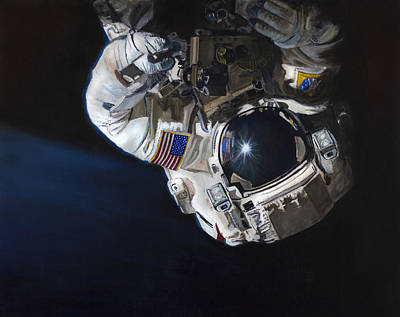Astronaut Painting - Walk Into Darkness  by Simon Kregar