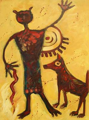 Pictograph Painting - Walk The Dog by Carol Suzanne Niebuhr