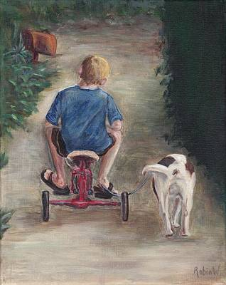 Tricycle Painting - Walk The Dog by Robin Wiesneth