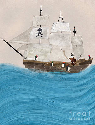 Pirate Ship Painting - Walk The Plank by Bleu Bri