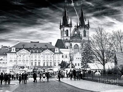 Walk Through The Prague Christmas Market Art Print by John Rizzuto