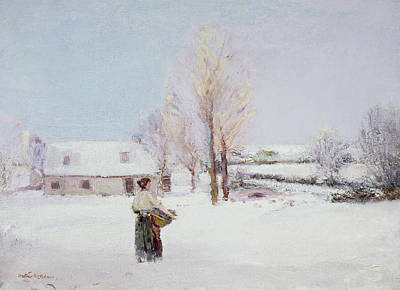Snow Scene Painting - Walk Through The Snow by Walter McAdam