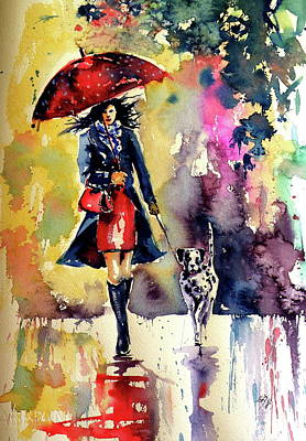 Painting - Walk With Dog by Kovacs Anna Brigitta