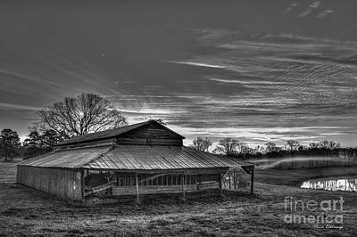 Photograph - Walker Barn Sunrise B W Art by Reid Callaway