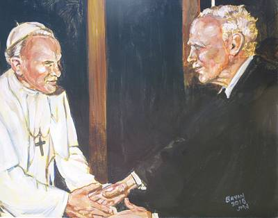 Painting - Walker Percy And John Paul II by Bryan Bustard