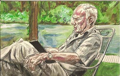 Painting - Walker Percy At The Lake by Bryan Bustard