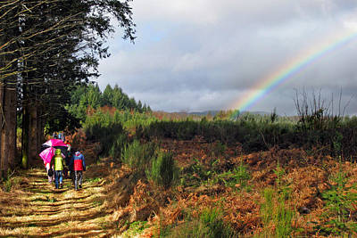Photograph - Walkers With Rainbow by Rod Jones