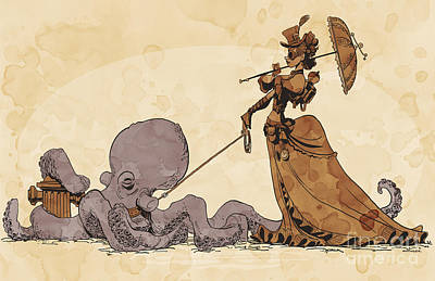 Octopus Digital Art - Walkies For Otto by Brian Kesinger