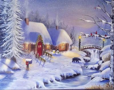 Navidad Painting - Walking On The Snow by Edith Hernandez Art